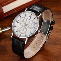 Military Leather Waterproof Date Quartz Analog Army Men's Quartz Wrist Watches