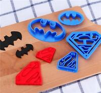 4x Superman Batman Shaped Biscuit Cake Pastry Cookie Mould Fondant Cutter Blue