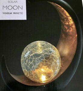 Large LED Solar Moon Crackle Ball Sitting Garden Ornament Decoration  Patio