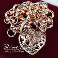 18K ROSE GOLD GF BELCHER RING CHAIN HEART PADLOCK SOLID WOMENS BRACELET BANGLE