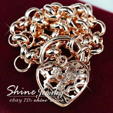 18K ROSE GOLD GF BELCHER RING CHAIN HEART PADLOCK SOLID WOMENS BRACELET BANGLE