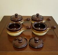 Vintage Brown Glazed Stoneware Bowls with Lids - Set of 4 - Soup, Chili, F Onion