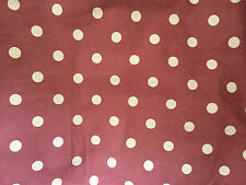 CLEARANCE FQ PINK RUSTY BROWN POLKA DOT SPOTS FABRIC VINTAGE RETRO KITSCH