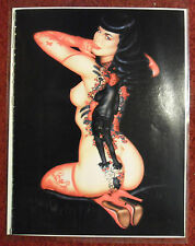 1992 Magazine Art Page ~ Bettie Page w/ Black Cat and Tattoos
