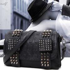 Womens Ladies Skull Rivet Handbag Cross body Shoulder Chain Bag Satchel Purse