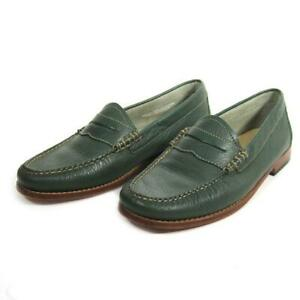 Bass Weejuns Whitney Green Leather Moc Toe Penny Loafers Women's Size 9.5 M