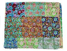 Handmade Patchwork Kantha Quilt Vintage Throw Cotton Bedspread Queen Multi-color