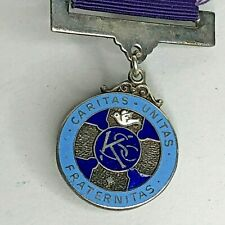More details for 1972 knights of saint columba sterling silver enamel fob medal hallmarked