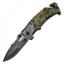 "Spring-Assist Folding Knife | Wartech 3.38"" Stone Gray Blade Green Forest Camo"