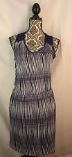 Anthropologie Deletta Size M Navy Blue White Grid Stripe Janie Jersey Dress