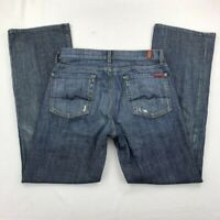 7 For All Mankind Mens Straight Jeans Blue Button Fly Relaxed Fit Denim 31 X 33