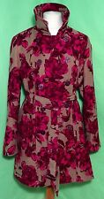 ** MERONA ** WOMANS PINK FLORAL MOLESKIN TRENCH COAT with BELT  XXL Free UK Post