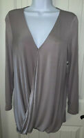 NWT Soma Smokey Taupe Soft Jersey Drape Long Sleeve  Wrap Top Sz XS