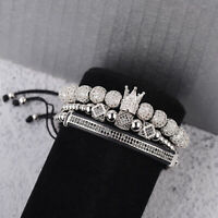 Luxury Men Micro Pave CZ Zircon Ball King Crown Braided Adjustable Bracelets New