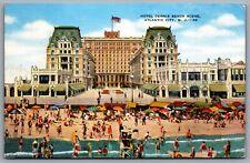 Postcard Atlantic City NJ c1940s Hotel Dennis Beach Scene Linen