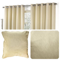Fusion SORBONNE - Natural Beige 100% Cotton Eyelet Curtain / Cushions