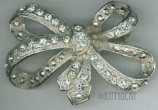Rhinestone Figural Bow Antique Brooch Pin Art Nouveau Rhodium Plated