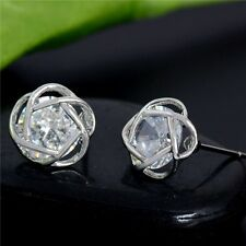 9K REAL PLATINUM PLATED STUD EARRINGS MADE 0.6 CT MADE WITH SWAROVSKI CRYSTALS