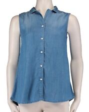 Beach Lunch Lounge - S - NWT  Blue Denim-Color Chambray Sleeveless A-Line Shirt