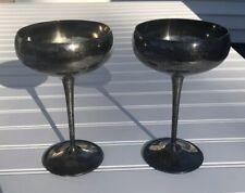 Vintage EL DeUberti Champagne Wine Goblet Cup Silver Plated Mid Century Set of 2