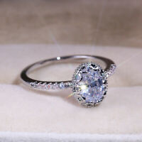 Classic 925 Silver Engagement Rings For Women White Sapphire Jewelry Size 6-10