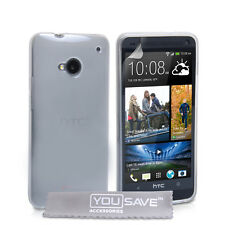 HTC ONE M7 Clear Silicone Gel Case Cover Slim Fit Protection + Screen Guard UK