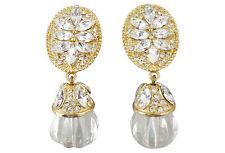 Vintage 1980s Tara Clear Lucite Rhinestone Drop Bridal Earrings