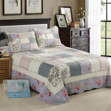Embroidery King Size Quilt Coverlet Patchwork Bedspread Blanket Set Cotton 3pcs