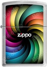 Zippo Logo Color Spectrum Rainbow Spiral Satin Chrome Lighter NEW Rare