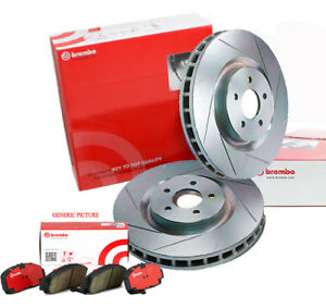 BREMBO 286mm REAR SLOTTED BRAKE ROTORS x 2 PADS for SUBARU G3 WRX FORESTER 08~13