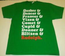 DASHER & DANCER & PRANCER & VIXEN CHRISTMAS Unisex Adult T-Shirt RUDOLPH Green