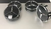 Genuine Mercedes Benz Gloss Black Alloy Wheel Centre Hub Caps x 4  B66470200 NEW