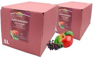 Bleichhof Apfel-Holunder Saft – 100% Direktsaft, mit Zapfsystem (2x 5l Saftbox)
