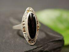 Hübscher 925 Silber Ring Markasiten Oval Schwarz Onyx Vintage Retro Elegant