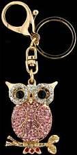 Schlüsselanhänger Eule goldfarben Strass weiss, rosa, rot Taschenanhänger AH08