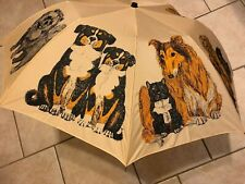 Vtg Umbrella Artfarm Animal Series Dogs ~Adult~ Wooden Dog Handle Rare Adorable