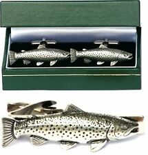 Brown Trout Cufflinks & Tie Clip Bar Slide Tack Set Mens Freshwater Fishing Gift