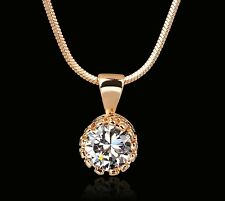 18K New Rose Gold Plated Cubic Zirconia Necklace Ladies Jewellery Chain Pendant