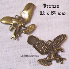 FEUILLE CHARM Lot de 3 CONNECTEUR Bronze 062 BRELOQUE 35 x 13 mm