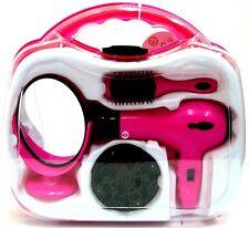Chicas Rosa Con Pilas Secador De Pelo Set Juego Juguete En Estuche Espejo Cepillo