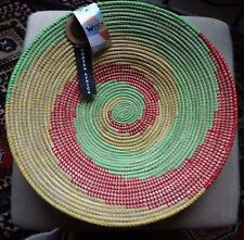 "Handmade Woven Wolof  Basket from Senegal 17"" in diameter"