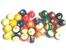 Vintage Replacement Pool Ball Standard Billiards Size Solids & Stripes & Cue