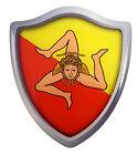 "Sicily Italian flag Shield Domed Decal 3D Look Emblem Resin car sticker 2.6""x3"""