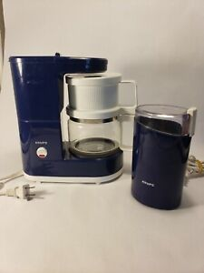 Krups Brewmaster Jr 170 Coffee Maker & 203 Grinder COBALT BLUE 4 Cup Machine