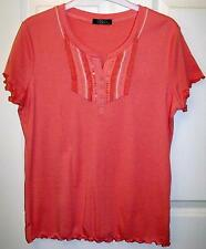 BARGAIN!!! NEW EX-STORE SALMON PINK SUMMER T SHIRT TOP SIZE M 12/14  # 774