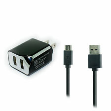 2.1A Dual Wall AC Charger+USB Cord for Cricket ZTE Grand XMax X Max Plus Z987
