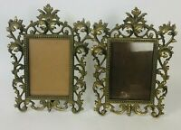 Pair of Antique Victorian Metal Cast Gold Filigree Ornate Picture Frames Stand