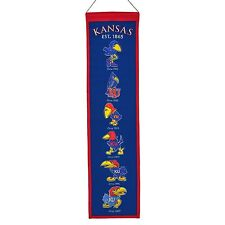 "Kansas Jayhawks Heritage Banner Embroidered Wool 32""x 8"" *Brand New*"