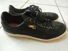PUMA LIGA LEATHER TRAINERS Black Tennis Casual Shoes Gold Logo Size 9 EUC