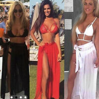 Sexy Women Bikini Cover Up Swimwear Sheer Beach Maxi Wrap Skirt Sarong Pareo